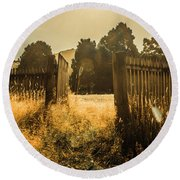 Wooden Fence With An Open Gate Round Beach Towel