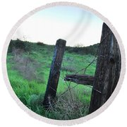 Round Beach Towel featuring the photograph Wooden Gate In Field by Matt Harang