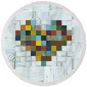 Round Beach Towel featuring the digital art Wooden Heart 2.0 by Michelle Calkins