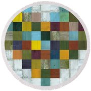 Round Beach Towel featuring the digital art Wooden Heart by Michelle Calkins