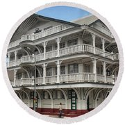 Wooden House In Colonial Style In Downtown Suriname Round Beach Towel