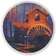 Round Beach Towel featuring the painting Wooden House by Tithi Luadthong