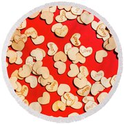 Wooden Notes Of Red Sentiment Round Beach Towel