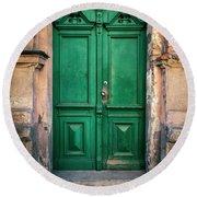 Wooden Ornamented Gate In Green Color Round Beach Towel by Jaroslaw Blaminsky