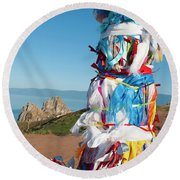 Wooden Shaman Totems  Round Beach Towel