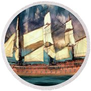 Wooden Ship Round Beach Towel by Michael Cleere