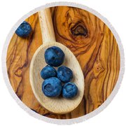 Wooden Spoon And Blueberries Round Beach Towel by Garry Gay