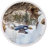 Wooden Window View  Round Beach Towel