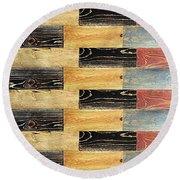 Woodgrain Art Abstract Golds Black Blues Round Beach Towel by Scott D Van Osdol