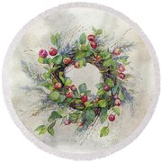 Woodland Berry Wreath Round Beach Towel by Colleen Taylor