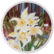 Round Beach Towel featuring the painting Woodland Daffodils by Judith Rhue