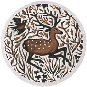 Woodland Deer Round Beach Towel