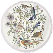 Woodland Edge Birds Placement Round Beach Towel by Jacqueline Colley