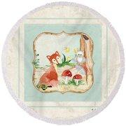 Woodland Fairy Tale - Fox Owl Mushroom Forest Round Beach Towel by Audrey Jeanne Roberts