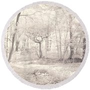 Round Beach Towel featuring the photograph Woodland by Keith Elliott