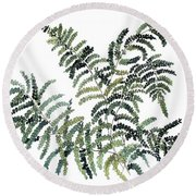 Woodland Maiden Fern Round Beach Towel