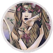 Woodland Nymph Round Beach Towel by Kathy Kelly