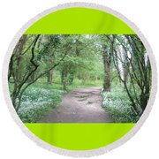 Woodland Path 1 Round Beach Towel