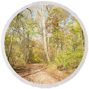 Woodland Path, Autumn, Montgomery County, Pennsylvania Round Beach Towel