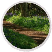 Woodland Path Lined By Bluebells Round Beach Towel