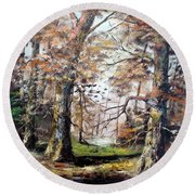 Round Beach Towel featuring the painting Woodland Pond  by Lee Piper