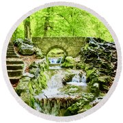 Woodland Steps And Stream Round Beach Towel
