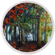 Round Beach Towel featuring the painting Woodland Trail by Hailey E Herrera
