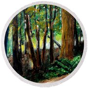 Woodland Trail Round Beach Towel by Michelle Calkins