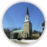 Woodlawn Cemetery Chapel Round Beach Towel