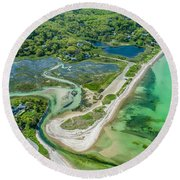 Round Beach Towel featuring the photograph Woodneck Beach At 400 Feet by Michael Hughes