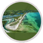 Round Beach Towel featuring the photograph Woodneck Beach by Michael Hughes