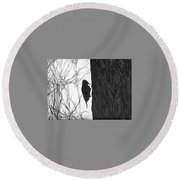 Round Beach Towel featuring the drawing Woodpecker by Anna  Duyunova