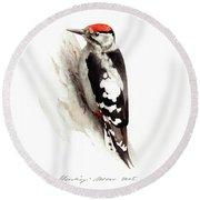 Woodpecker Round Beach Towel