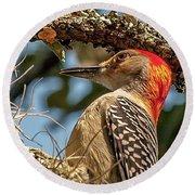 Woodpecker Closeup Round Beach Towel