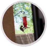 Woodpecker Having A Drink Round Beach Towel by Carolina Liechtenstein