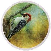 Woodpecker On Cherry Tree Round Beach Towel
