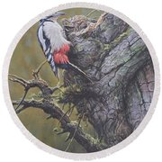 Round Beach Towel featuring the painting Woodpecker On Tree by Alan M Hunt