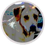 Woodrow The Pop Art Dog  Round Beach Towel