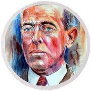 Woodrow Wilson Painting Round Beach Towel