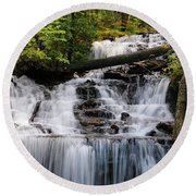 Woods And Waterfall Round Beach Towel