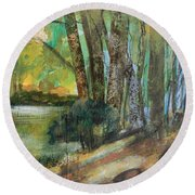 Woods In The Afternoon Round Beach Towel
