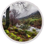 Woods Landscape Round Beach Towel by Carlos Caetano