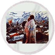 Woodstock Album Cover Signed Round Beach Towel
