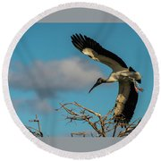 Woodstork In Flight Delray Beach Florida Round Beach Towel