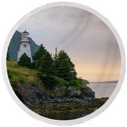 Woody Point Lighthouse - Bonne Bay Newfoundland At Sunset Round Beach Towel