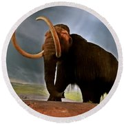 Woolly Mammoth Round Beach Towel