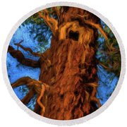 Wooly Bear Tree Round Beach Towel
