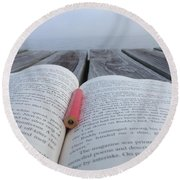 Words On The Dock Round Beach Towel