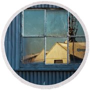 Round Beach Towel featuring the photograph Work View 1 by Werner Padarin