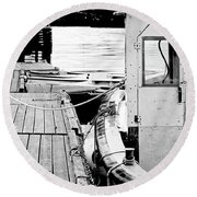 Working Boat Round Beach Towel